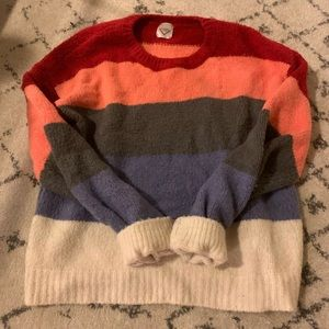 striped cozy balloon sleeve sweater